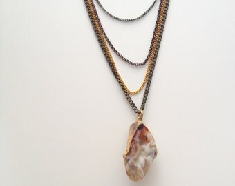 Brass, Copper and Gold Multi-Chain Necklace with Crystal - Handmade