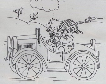 Life With Emma and Oliver DRIVING MISS EMMA By Briar Rose Designs - Screened Pattern For Redwork Embroidery