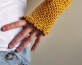 ready to ship Hand Crochet Fingerless Gloves mittens mustard yellow with crochet flower christmas gift for her