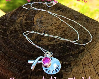 Sterling Silver Breast Cancer Awareness Necklace