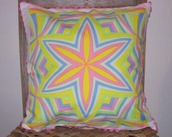 Handmade Pillow Cover, Mother's Day Gift, Easter Gift, Hostess Gift, Hanky Pillow, Op Art, Child's Bedroom, Star, Psychedelic, Rick Rack
