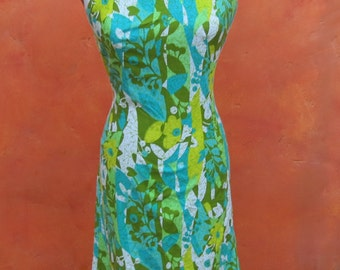 Vintage 1950s 1960s Hawaiian Tropical Floral Print Wiggle Dress. Aqua Turquoise Lime Green Olive. Day dress. Pinup. Rockabiily US Size 6 8