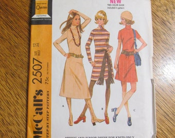 "1970 MOD A-Line Knit Mini Dress with Bias Roll Collar - Size 12 (Bust 34"") - UNCUT FF Vintage Sewing Pattern McCalls 2507"