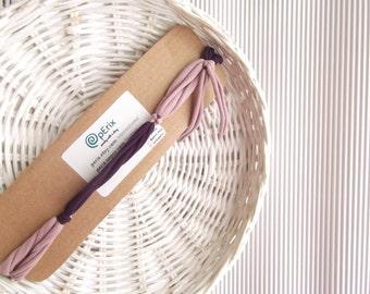 The Fringe FiveBand, yoga headband, Upcycled fabric headband, girl headband, pink and purple fabric headband, recycled headband