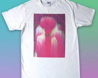 Pink Glitch printed T-shirt (made to order)