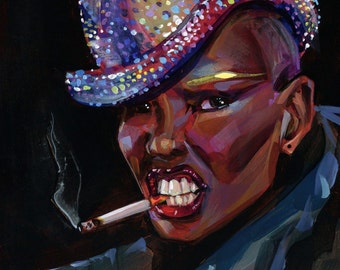 Grace Jones original painting by Shaunna Peterson