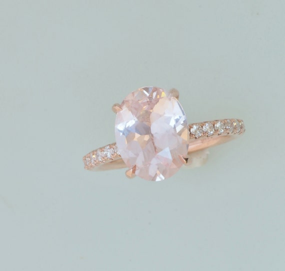 Champagne Pink Peach Sapphire Engagement Ring By