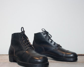 7 1/2 D | Vintage 1950's Short Military Combat Boots Cap Toed Army Boots by Philadelphia Quartermaster Depot