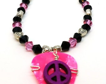 Guitar Pick Bracelet - Pink Peace sign with Crystals