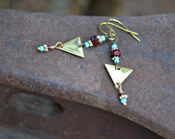 Geometric Earrings tiny brass triangle earrings with turquoise and red Czech glass accents handmade gift for her
