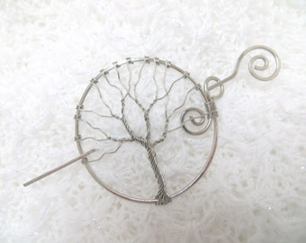 Hair Pin/Shawl Pin- Barrette, Wire Wrapped, Tree of Life, Silver Copper Wire