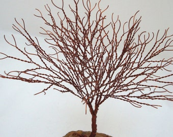 Brown Tree of Life, Tree Sculpture Party Favor, Wire Tree of Life, Brown Agate Wire Wrapped Tree Sculpture