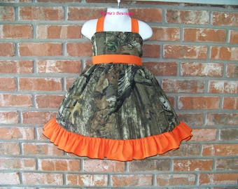 CAMO Halter Dress / Mossy Oak / Orange / Flower Girl / Wedding / Infant / Baby / Girl / Toddler / Custom Boutique Clothing