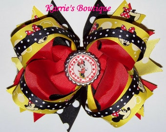Minnie Mouse Hair Bow or Headband / Red + Black + Yellow / Disney / Pageant / Photo Prop / Infant / Baby / Girl / Toddler / Custom Boutique