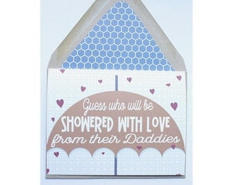 Showered With Love - AdoptionCard, New Dad, Gay Families, Boy Met Boy, Gay, Lgbt, Same Love Card