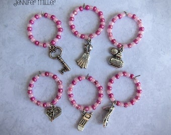 Ladies Night Pink Wine Charms Set