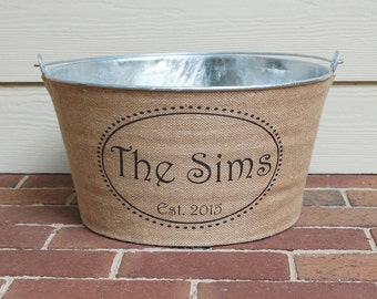20% OFF! Personalized Burlap Wine Tub with family name and established year