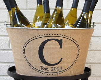 Monogrammed Burlap Beverage Tub - personalized wine tub perfect for chilling beverages - single initial and established year