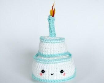 Crochet Plush Vanilla Birthday Cake with Candle