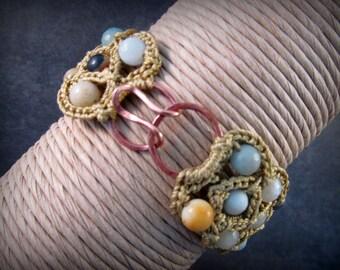 Bohemian Cuff Bracelet, Artisan Copper Hook and Eye Clasp, Blue Amazonite, semi precious