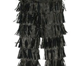 Vintage Rare JEAN PAUL GAULTIER Black Leather Fringe Belted Pants Sz 40 Runway Fashion Street style