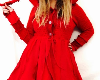 SEEING RED  Elf jumper hoodie red patchwork sweater coat by Hope Floats Upcycled