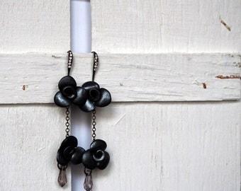 Roses Earrings Chandelier Black Earrings Bridal Jewelry Long Earrings
