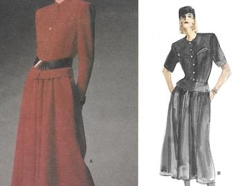 Peplum Top Jacket Full Skirt Paris Original Pattern Karl Lagerfeld 1980s Professional Vogue 1928 Size 14