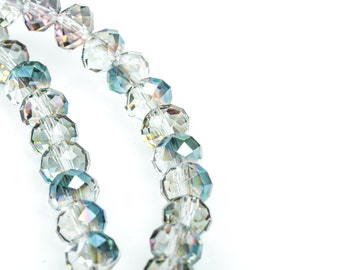 8mm Crystal Rondelle Beads, NORTHERN LIGHTS, Faceted Glass Beads, Precision Cut, full strand,  bgl1320