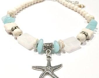 Beach Jewelry, Ocean Jewelry, Beach Necklace, Sea Jewelry, Sea Necklace, Starfish Necklace, Ocean Necklace, Starfish Jewelry, Stone Jewelry
