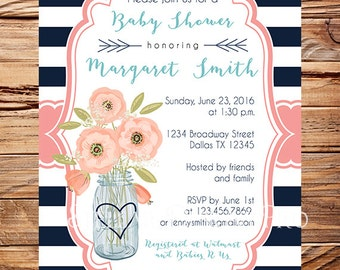 Baby shower invitation, Navy, Coral, Flowers baby shower Invitation, navy and white stripes, coral, baby shower invitation, girl, boy, 1615