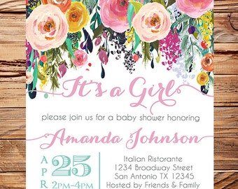 Watercolor Baby shower invitation, floral baby shower Invitation, It's a Girl, navy pink, baby Shower Invite, watercolor, pink 1649