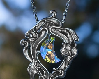 Swarovski Crystal Moon Pendant with Ornate Frame - Victorian Gothic Jewelry