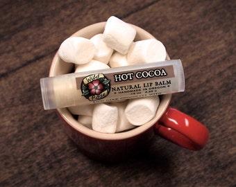 Lip Balm Natural HOT COCOA Organic Dark Chocolate + Vanilla .15 oz stocking stuffer