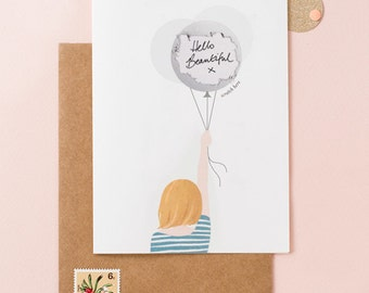 Unique Scratch Off Card - Will You Be My Maid Of Honor - Girl With Balloons - Bob Hair Blonde