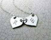 Heart Necklace - Two Hearts - Two Initials - Custom Mommy Necklace - Personalized Jewelry - Gift for Mom - Gift for Grandma - Gold Fill