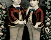 Currier & Ives Print, Brothers, Reproduction, Twin Boys, The Little Brothers
