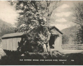 Old Covered Bridge over Saxtons River Vermont Black and White Photograph Vintage Postcard