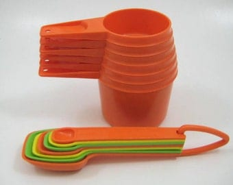 Vintage 1970s Tupperware Stacking Measuring Cups in Bold Orange & Nesting Measuring Spoons in Orange, Yellow, Green - Complete Sets