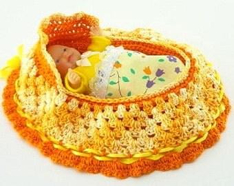 handmade crochet cradle purse travel toy itty bitty baby church purse quiet book  BG#134