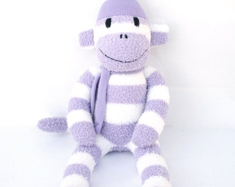 Paige the Sock Monkey - purple and white stripes - READY TO SHIP