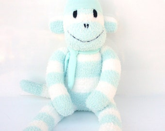 Piper the Sock Monkey - mint and white stripes - READY TO SHIP