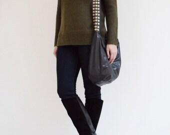 Black Leather Veronica Mars Bag - Large - Plain Front&Back, Messenger bag, Cross Body Purse, Borse, Bourse, Cuir, Bolso Cuero, Tasche