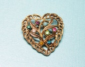Sparkly Heart Brooch - Vintage Valentine Pin with Multi-color Rhinestones