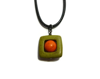 Green Square and Orange Orb Pendant Necklace ~ Circle in Square ~ 20mm ~ Black Braided Cord Necklace ~ Olive ~ Pumpkin ~ Modern ~ Simple