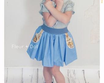 Girl Skirt Horse Skirt Blue Skirt Polka Dot Skirt Cowgirl Skirt Country Skirt Baby Skirt Twirl Skirt High Waist Skirt Vintage Skirt 2T 3T 4T