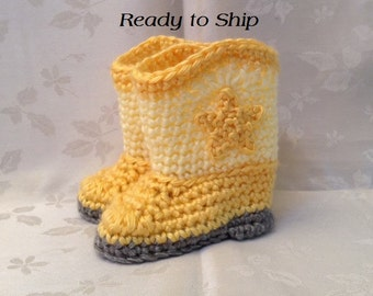 Baby Booties Ready to Ship  Yellow Crochet baby cowboy booties 0 to 3 month boots Infant Booties