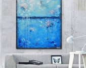 ORIGINAL Large Art Abstract Painting Blue Wall Art Colorful Modern Home Decor Coastal Wall Decor Acrylic Textured Palette Knife - Christine