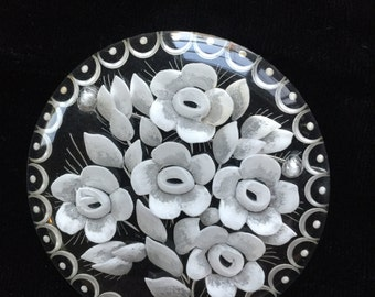 Reverse Carved Lucite Brooch Clear with White Flowers Round Pin