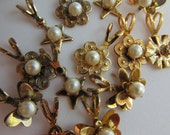 10 Vintage Charms With Pearls And Rhinestones, Stars, Hearts, Butterflies, and Flowers